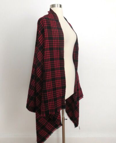 NWT red black plaid flannel print oversize wrap scarf buffalo hipster grunge