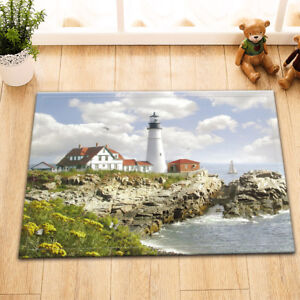 Details About Ocean Bird Lighthouse Rock Room Floor Carpet Non Skid Door Bath Mat Decor Rugs