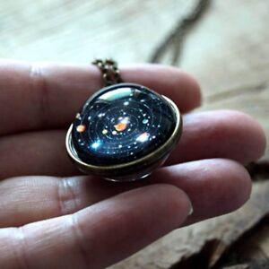 Planet-Doppelseitige-Glaskuppel-Galaxy-Anhaenger-Halskette-Sonnensystem-Halskette