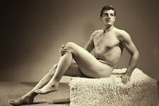 Extra muscles Gay Interest 4x6 Sepia Reprint Vintage YOUNG HOT SWIMSUIT Model