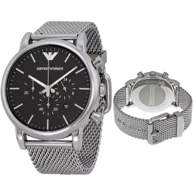 65a198172f49 Emporio Armani AR1808 Clásico Acero Inoxidable Cronógrafo 46mm Reloj Para  Hombre