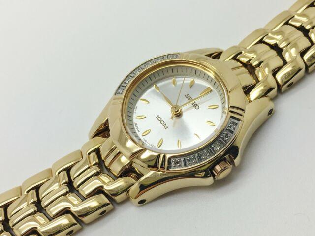 SEIKO LADIES RUNNING SXGN52 12 DIAMOND 100M DRESS QUARTZ ANALOG WATCH 1N01-0MP0