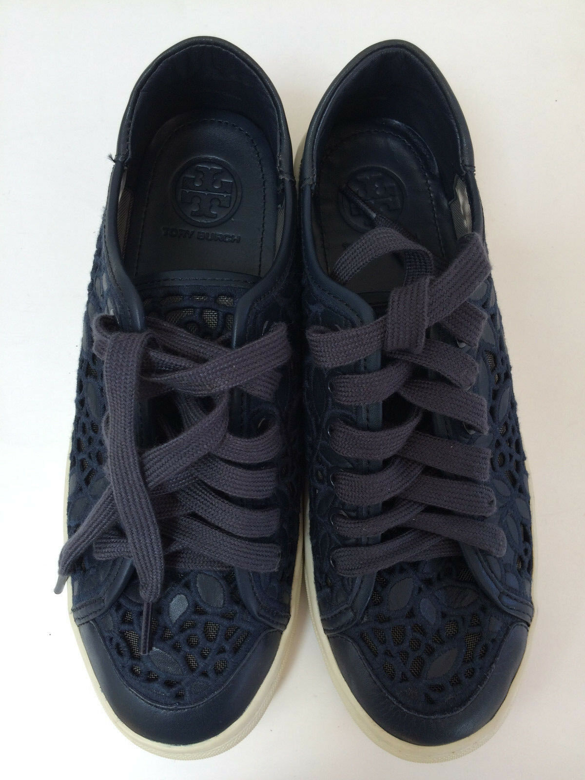 New Tory burch Mesh Rhea Embroidery Leder Lace Mesh burch Sneaker Tori Navy Sz 8.5M 9.5M df4e63