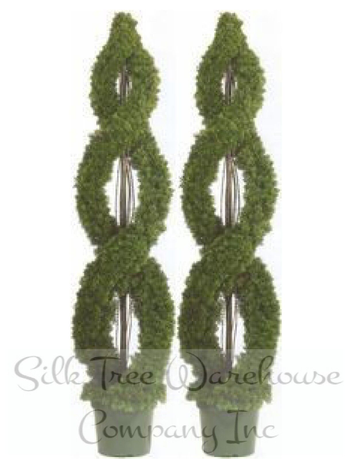 Two 5 foot Outdoor Artificial Cedar Double Spiral Topiary Trees Potted UV Rated