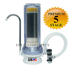 Premium 5-Stage Counter-Top Water Filtration Filter Sink Drinking System Clear