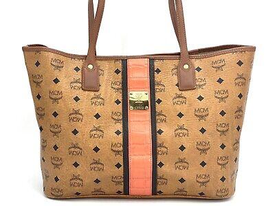 MCM Visetos Shopper Bag Tasche Medium Schultertasche Stripe