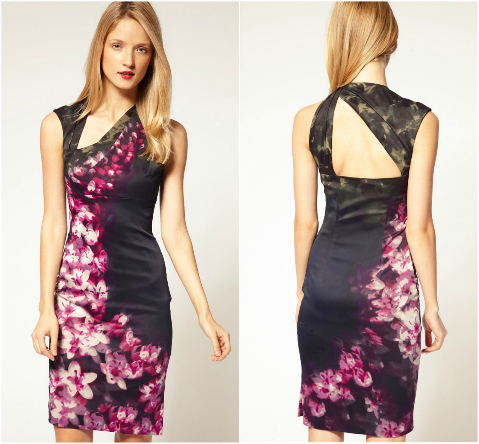 New KAREN MILLEN Floral Print BNWT  Pencil Dress UK Größe 10 12 14