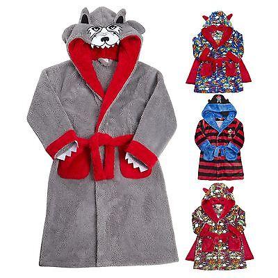 Masq Boys//Childrens Fleece Game Hooded Robe//Dressing Gown Blue