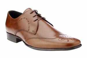 Red-Tape-GALA-hommes-a-lacets-richelieu-chaussures-cuir-decontractees-fonce