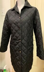 EUC-Beautiful-Black-Salvatore-Ferragamo-Long-Quilted-Jacket-Size-S