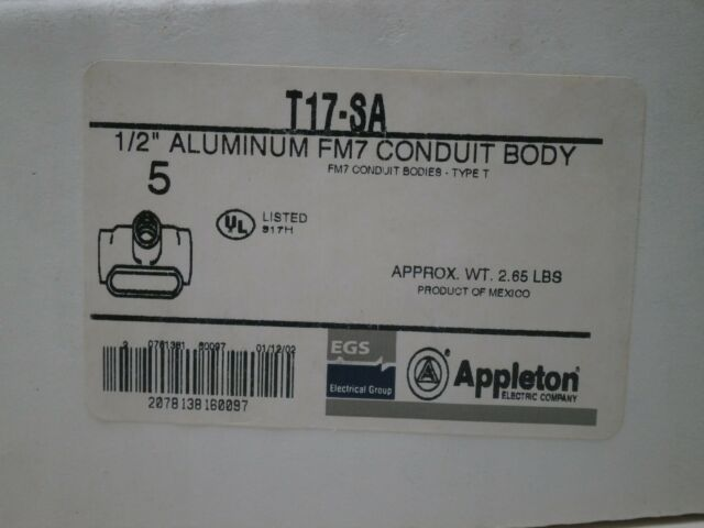Appleton T67-SA FM7 Conduit Body Copper-Free Aluminum Style T 2 2 APPT67SA