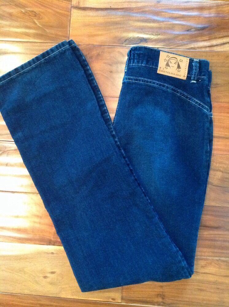 NWT CASTELBAJAC  Women's Sz 29  Pant Dark Indigo bluee Brushed Velour Cord Jean