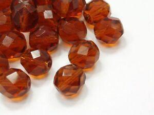 40-Boehmische-Glasschliffperlen-8mm-Topaz-Madeira-Glasperlen-Glassbeads-E251
