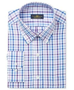 Nwt $86 Club Room Men Regular-Fit Blue White Check Button Dress Shirt 16.5 34//35