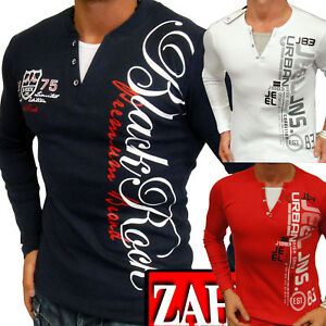 Mens-Sweat-Shirt-Long-Sleeve-T-Shirt-Longsleeve-V-Neck-Collar-2in1-S-M-L-XL-NEW