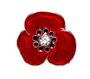 Details about Sterling Silver Enamel Poppy Pin set with Cubic Zirconia,  Hand made in England
