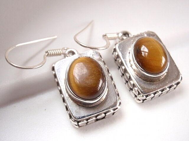 Heavy Tiger Eye 925 Sterling Silver Dangle Earrings Brown Corona Sun Jewelry