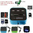High Speed 3 Port USB 2.0 Combo TF M2 MS SD Card Reader Hub For Phone Laptop PC