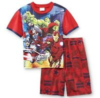 Avengers Assemble Red Pajamas Boy's 6/7 Marvel Shirt Shorts Pjs Ironman Hulk