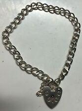 "Sterling Silver 925  Vintage Charm Bracelet Heart Padlock 7"" Hallmarked"