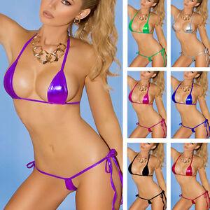 Sexy-Ladies-Lingerie-Liquid-Wet-Look-Goth-Bikini-Set-Bra-G-string-9-Colours