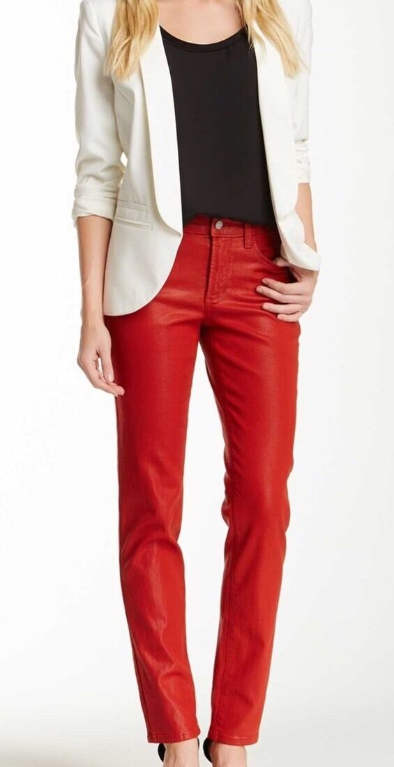 NYDJ Women's Red Sheri Coated Skinny Jean  128 Sz 0 34
