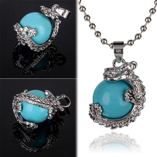 Natural Gemstone Dragon Ball Round Reiki Chakra Healing Pendant Necklaces Beads