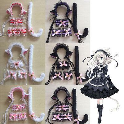 Women Cat Maid Cosplay Neko Costume Plush Lace Ears Headbands Tail Halloween