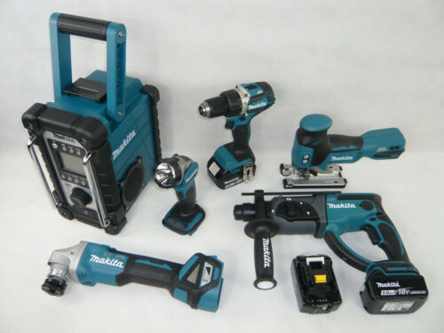 MAKITA 18V 3x5Ah BL1850B Akku Werkzeug Maschinen Set 3xMAKPAC Bohrhammer Radio