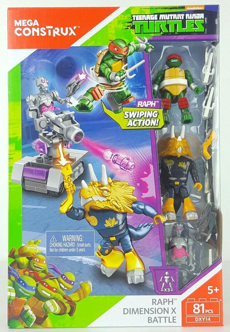 Mega Bloks Construx TMNT Turtles Raph Dimension X Battle with Triceraton 81 pcs