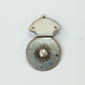 Lock-plate-clasp-antique-Georgian-white-metal-miniature-early-19th-century-4