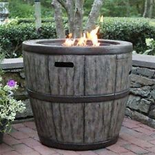 """Wine Barrel  27"""" Gas Fire Pit with Concrete Base & table top lip for outdoor"""