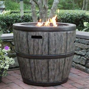 Wine Barrel 27 Gas Fire Pit With Concrete Base Table Top Lip For