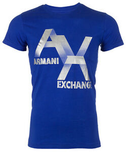 Armani-Exchange-AX-LOGO-Men-Designer-T-SHIRT-Premium-ROYAL-BLUE-Slim-Fit-45-NWT