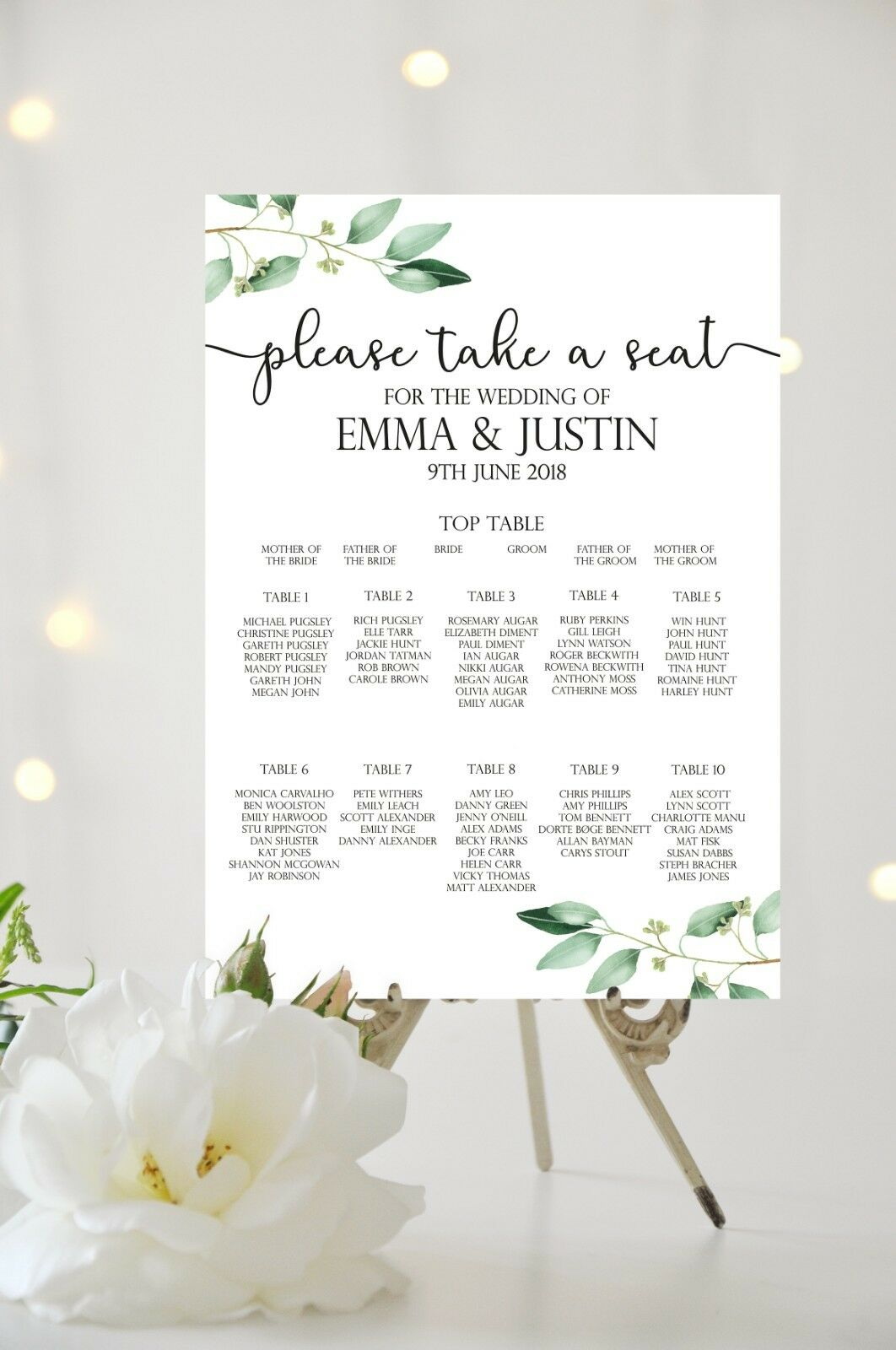 Personalised Floral Leaf Botanical Wedding Table Plan   Seating Chart A3 A2 A1