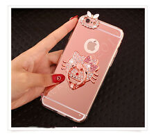 Luxury Mirror Bing Diamond Crystal Metal Ring Stand Case Cover for Cell Phones