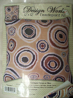 "Design Works Needlepoint Kit Modern Art Circles Pillow/Picture #DW2565 12"" X 12"""