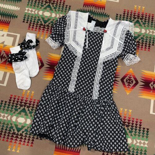 Vtg 90s GUNNE SAX Girls Black Velvet Lace Sailor … - image 1