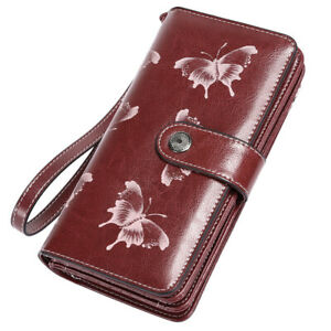 Women-Genuine-Leather-RFID-Long-Wallet-Cash-Card-Holder-Clutch-Zip-Purse-Handbag