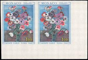 MONACO-683-Anemones-Flowers-Floral-Show-Imperf-Pair-Corner-Copy-VF-NH