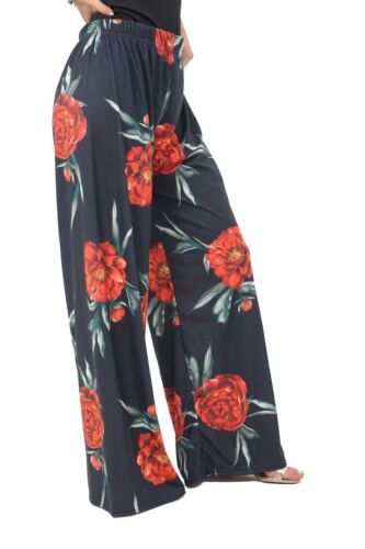 Womens Ladies Floral Palazzo Flared Wide Leg Pants Baggy Trouser Printed 8 26