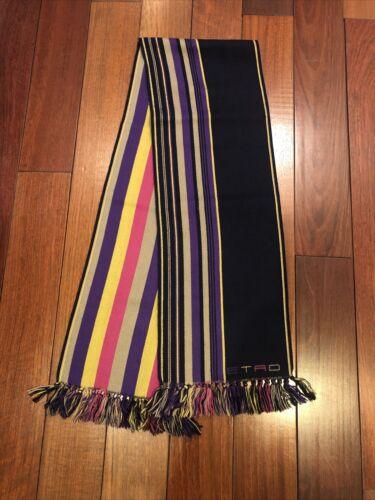 Etro Men's Multicolor Wool Stripe Knit Scarf