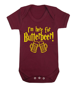 I/'m here for Butterbeer Harry Potter Inspired Baby Vest Babygrow Novelty Baby