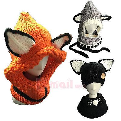 Winter Warm Children/Adult Unisex Lovely Fox Animal Knitted Hat HeadWear