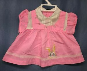 Vintage Pink White Baby Girl Toddler Dress Size 9 12 Months Bunny Applique Lace Ebay