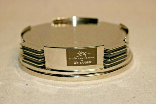 "WATERFORD Michael Aram JAIPUR 4 Piece Metal Coaster Set With Holder Caddy 4/"""