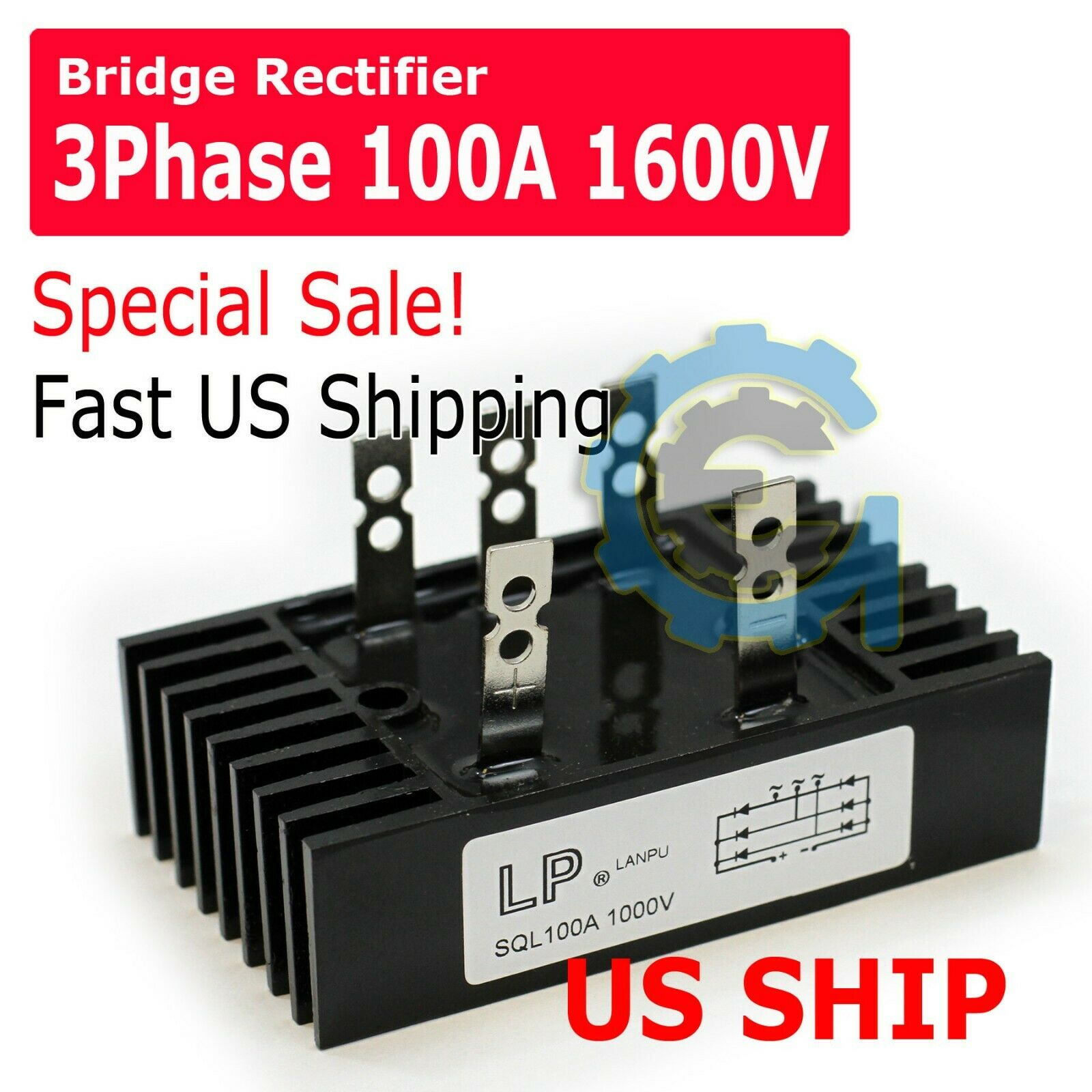 SQL 100a Amp 1000v 3 Phase Diode Metal Case Bridge Rectifier Gbpc Bridge Rectifier Ac To Dc Wiring Diagram on