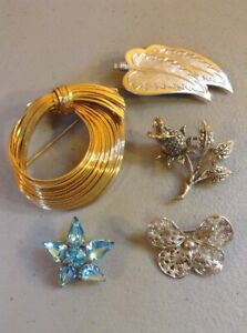 LOT-OF-5-VINTAGE-RHINESTONE-PINS-BROOCHES
