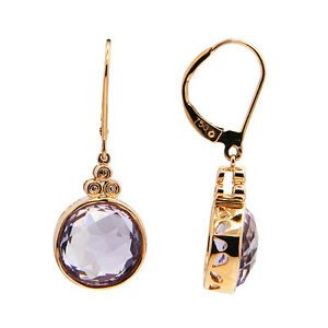 14k Rose Gold Diamond Pink Amethyst Round Dangle Dangling