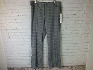 Calvin Klein 14 Pantalones Para Mujer Gris A Cuadros Moderno Fit Pierna Recta Precio Minorista Sugerido Por El Fabricante 99 Ebay